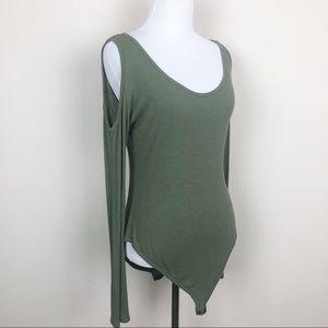 Moral Fiber Cold Shoulder Olive Green Bodysuit